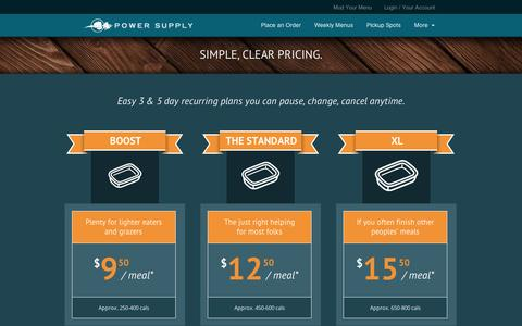 Screenshot of Pricing Page mypowersupply.com - Power Supply DC – Real Food for an Active Life Pricing - Power Supply DC - Real Food for an Active Life - captured Sept. 10, 2014