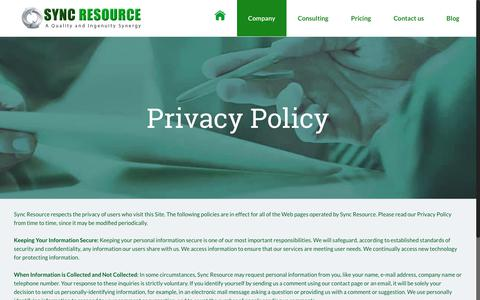 Screenshot of Privacy Page sync-resource.com - Privacy Policy | Sync Resource - captured Oct. 19, 2018