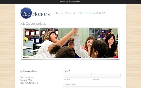 Screenshot of Jobs Page tophonors.org - Job Opportunities — Top Honors - captured Nov. 13, 2017