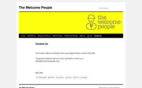 Screenshot of Contact Page thewelcomepeople.com - Contact Us | The Welcome People - captured Oct. 1, 2014