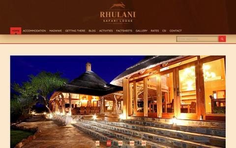 Screenshot of Home Page rhulani.com - Rhulani - captured Oct. 6, 2014