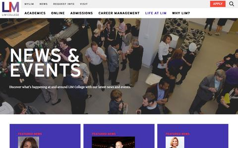 Screenshot of Press Page limcollege.edu - News and Events - captured Jan. 14, 2017