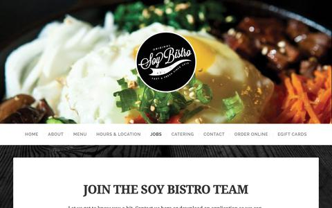 Screenshot of Jobs Page soybistro.com - JOIN THE SOY BISTRO TEAM – SOY BISTRO ® - captured April 11, 2019
