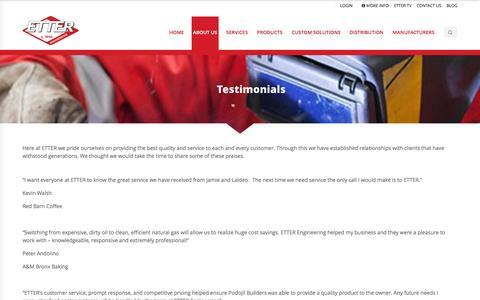 Screenshot of Testimonials Page etterengineering.com - Testimonials - Etter Engineering Company - captured Nov. 11, 2015