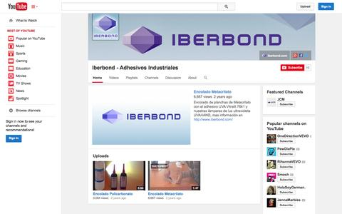 Screenshot of YouTube Page youtube.com - Iberbond - Adhesivos Industriales  - YouTube - captured Oct. 23, 2014