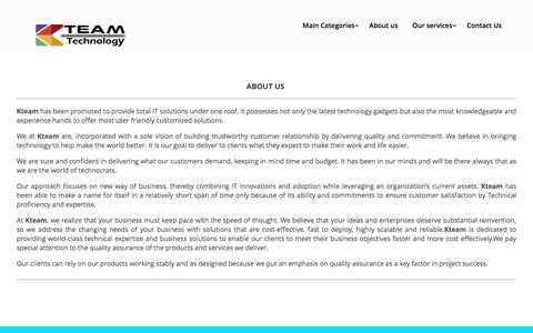 Screenshot of About Page kteam.co.in - KTeam Technology   About us - KTeam Technology - captured Nov. 12, 2016