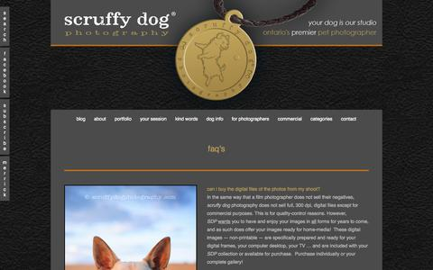 Screenshot of FAQ Page scruffydogphotography.com - faq's » scruffy dog photography | award-winning professional pet photographer serving Toronto and Ontario - captured Oct. 27, 2014