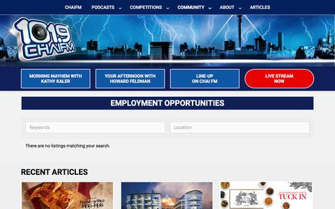 Screenshot of Jobs Page chaifm.com - Jobs – Chai FM - captured Oct. 18, 2017