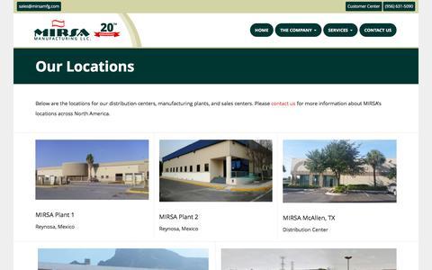 Screenshot of Locations Page mirsamfg.com - Locations | MIRSA Manufacturing - captured Nov. 18, 2016