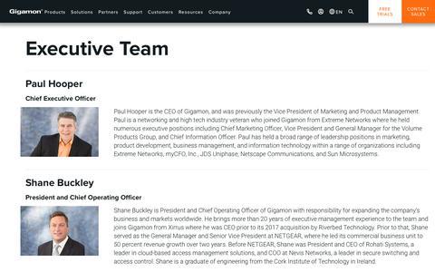 Screenshot of Team Page gigamon.com - Management | Executive Leadership |Gigamon - captured Oct. 13, 2019