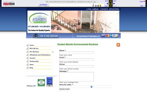 Screenshot of Contact Page archive.org - Baltimore Fire/Smoke Damage Restoration Services   Baltimore County, Maryland, DC - captured Nov. 2, 2014