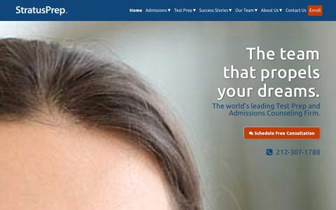 Screenshot of Home Page stratusprep.com - World's Leading Test Prep and Admissions Counseling Firm : Stratus Prep - captured Jan. 12, 2016