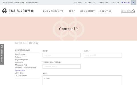 Screenshot of Contact Page charlesandcolvard.com - Contact Information | Charles & Colvard - captured July 9, 2017