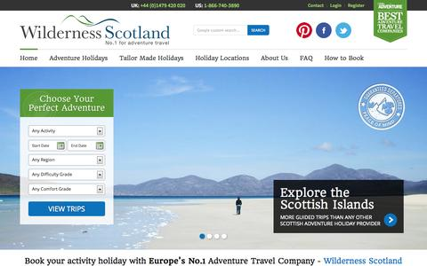 Screenshot of Home Page wildernessscotland.com - Wilderness Scotland - Adventure holidays in Scotland - captured Sept. 23, 2014