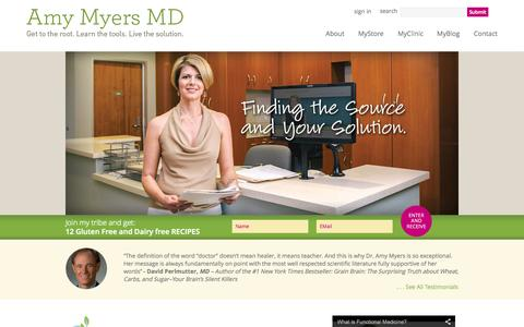 Screenshot of Services Page amymyersmd.com - Amy Myers MD - captured Sept. 19, 2014