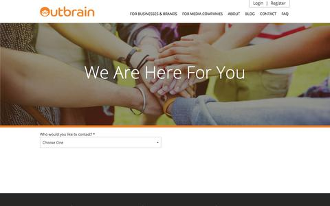 Screenshot of Contact Page outbrain.com - Contact Us And Get Started | Outbrain.com - captured July 17, 2017