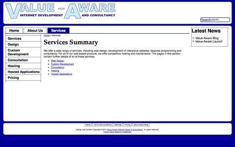 Screenshot of Services Page value-aware.co.uk - Services Summary - Value-Aware Internet Development & Consultancy - Specialising in Charities and other Good Causes - captured Oct. 9, 2014