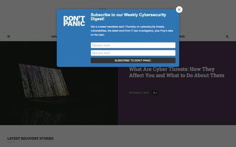 Screenshot of Blog preyproject.com - The Missing Report - a blog by Prey inc. - captured Sept. 22, 2018