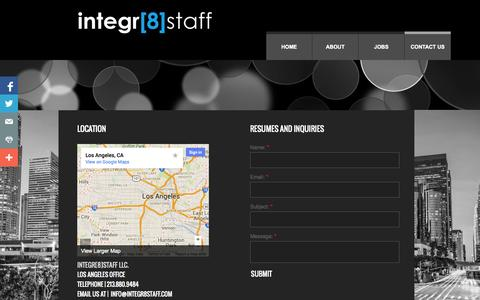 Screenshot of Privacy Page Contact Page integr8staff.com - We would love to hear from you. Contact us today! - captured Oct. 24, 2014
