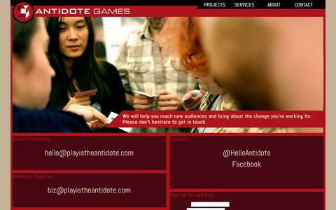 Screenshot of Contact Page playistheantidote.com - Contact Antidote Games - captured Oct. 4, 2014