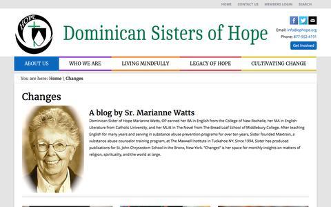Screenshot of Blog ophope.org - Changes - Dominican Sisters of HopeDominican Sisters of Hope - captured Nov. 24, 2016