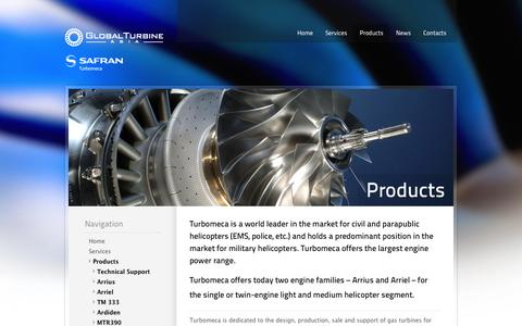 Screenshot of Products Page globalturbineasia.com - Products — GTA - captured Oct. 1, 2014