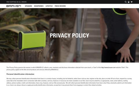 Screenshot of Privacy Page braven.com - BRAVEN | Privacy Policy - captured Aug. 1, 2018