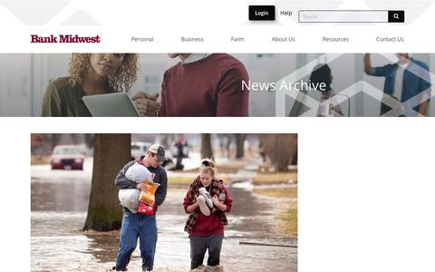 Screenshot of Press Page bankmidwest.com - News Archive - Bank Midwest - captured Dec. 8, 2019