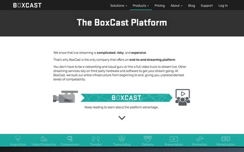 Screenshot of Products Page boxcast.com - BoxCast Platform Overview - captured May 9, 2017