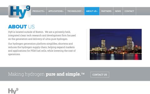 Screenshot of About Page hy9.com - Hy9 | Hydrogen Purifiers & Generators - About Us - captured Oct. 3, 2014