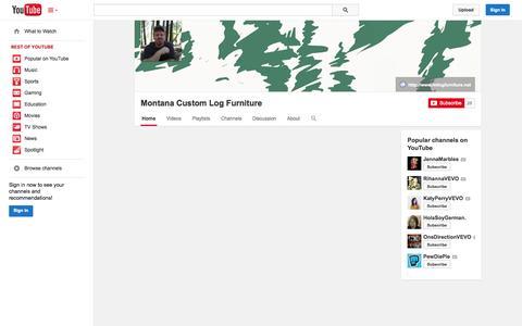 Screenshot of YouTube Page youtube.com - Montana Custom Log Furniture  - YouTube - captured Nov. 3, 2014