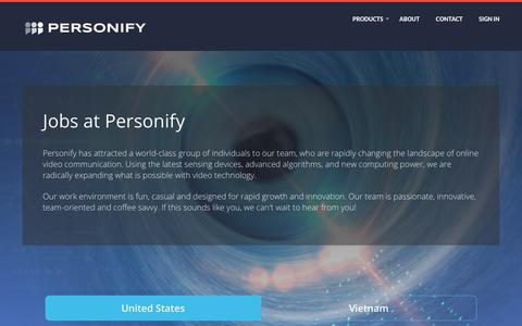 Screenshot of Jobs Page personifyinc.com - Jobs at Personify - captured July 20, 2018