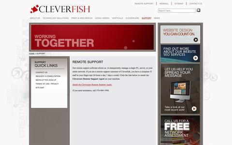 Screenshot of Support Page cleverfish.com - CLEVERFISH | REMOTE SUPPORT | Scranton, PA, Wilkes-Barre, PA - captured Dec. 9, 2015