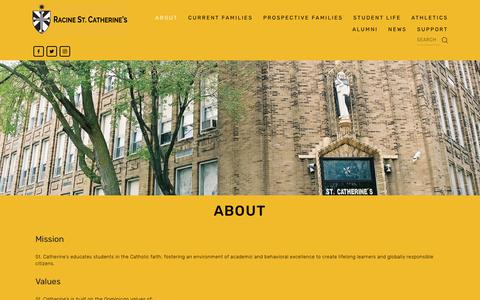 Screenshot of About Page saintcats.org - Mission and Values — Racine St. Catherine's - captured Oct. 18, 2018
