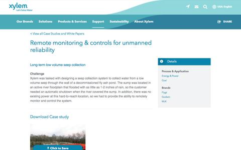 Screenshot of Case Studies Page xylem.com - Remote monitoring & controls for unmanned reliability   Xylem US - captured Nov. 9, 2019