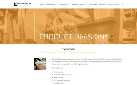 Screenshot of Services Page cotswoldindustries.com - Services   Cotswold Industries, Inc. - captured Sept. 29, 2018