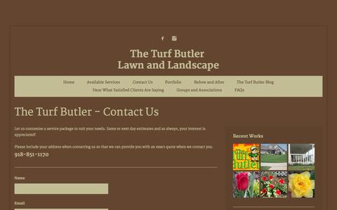Screenshot of Contact Page theturfbutler.com - The Turf Butler - Contact Us - captured Oct. 9, 2014