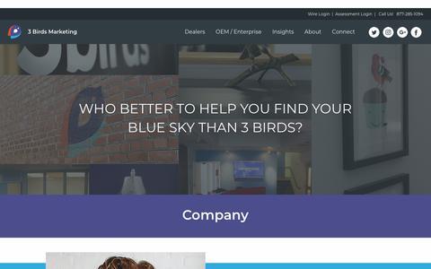 Screenshot of About Page 3birdsmarketing.com - Company | 3 Birds Marketing - captured Sept. 14, 2018