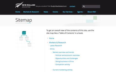 Screenshot of Site Map Page enz.govt.nz - Sitemap | Education NZ - captured Sept. 19, 2014