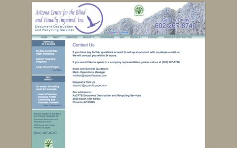 Screenshot of Contact Page azcenterfortheblind.com - Arizona Center for the Blind and Visually Impared, Inc. Document Destruction and Recycling Services - captured Feb. 6, 2016