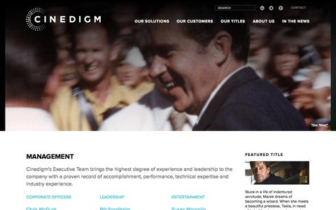Screenshot of Team Page cinedigm.com - Management - Cinedigm - captured June 17, 2015