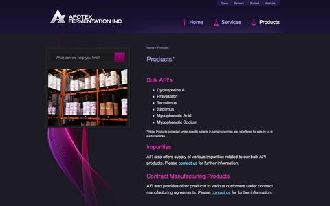 Screenshot of Products Page apoferm.com - Products - Apotex Fermentation Inc. - captured Oct. 4, 2014