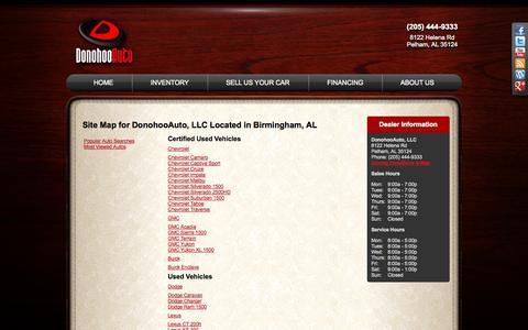 Screenshot of Site Map Page donohooauto.com - Used Car Dealer in Birmingham, AL | Donohoo Auto Used Car Dealer - captured Sept. 26, 2014