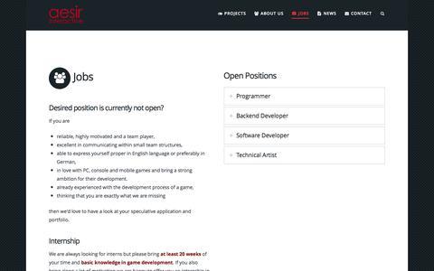 Screenshot of Jobs Page aesir-interactive.com - Jobs - Aesir Interactive GmbH - captured Nov. 20, 2016