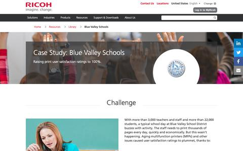 Screenshot of Case Studies Page ricoh-usa.com - Blue Valley Schools - captured Jan. 3, 2019