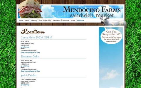 Screenshot of Locations Page mendocinofarms.com - Locations | Sandwich Catering Los Angeles | Mendocino Farms - captured Sept. 22, 2014