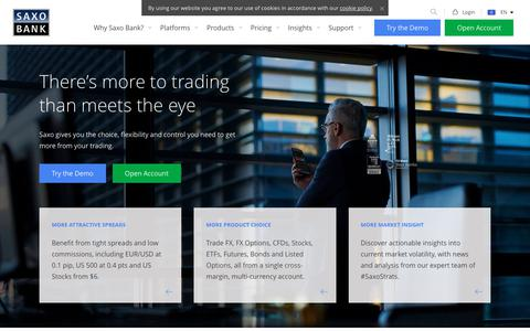 Screenshot of Home Page home.saxo - The Trading & Investment Specialist | Saxo Group - captured March 10, 2018