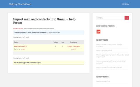 Screenshot of Support Page shuttlecloud.com - Import mail and contacts into Gmail - help forum - Help by ShuttleCloud - captured Oct. 18, 2017