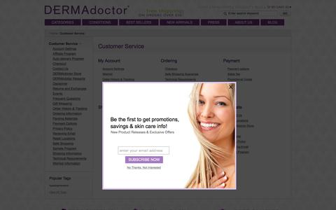 Screenshot of Support Page dermadoctor.com - Customer Service | DERMAdoctor - captured Aug. 20, 2017
