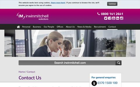Screenshot of Contact Page irwinmitchell.com - Contact us | Irwin Mitchell - captured Oct. 1, 2015